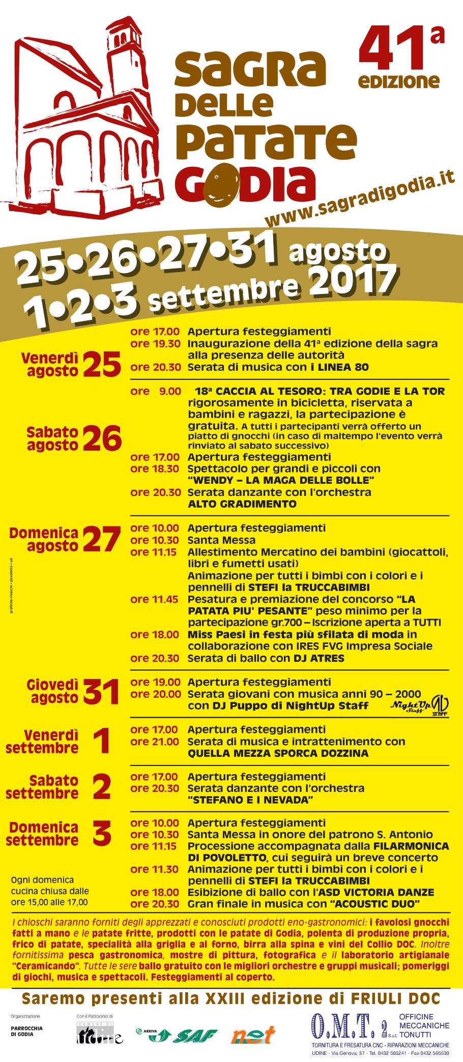 Programma della Sagra di Godia 2017